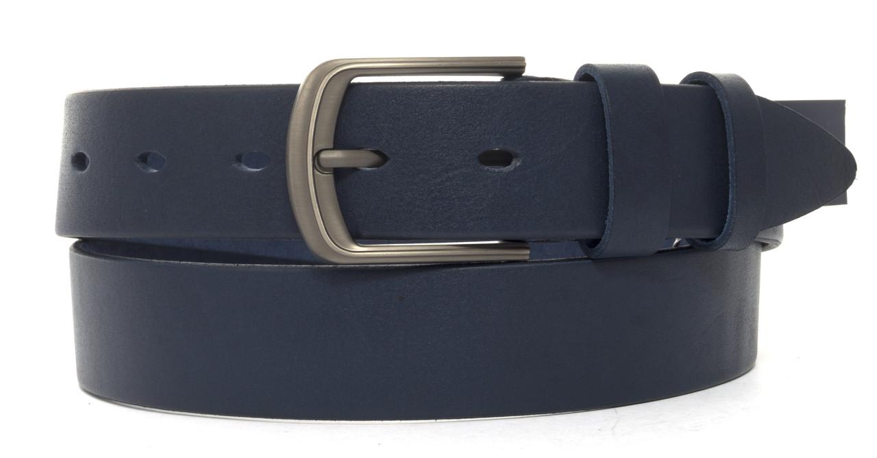 Качественный ремень из натуральной кожи под джинсы JOHNSON 4 см (103314) синий