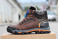 Мужские ботинки Мерелл коричневые кожаные зимние с мехом (реплика) Merrell  Brown Leather Winter 45 b9f90762e59ff