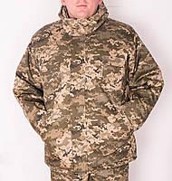 Куртка зимняя длинная светлый Пиксель с капюшоном мех + синтепон р.48-58