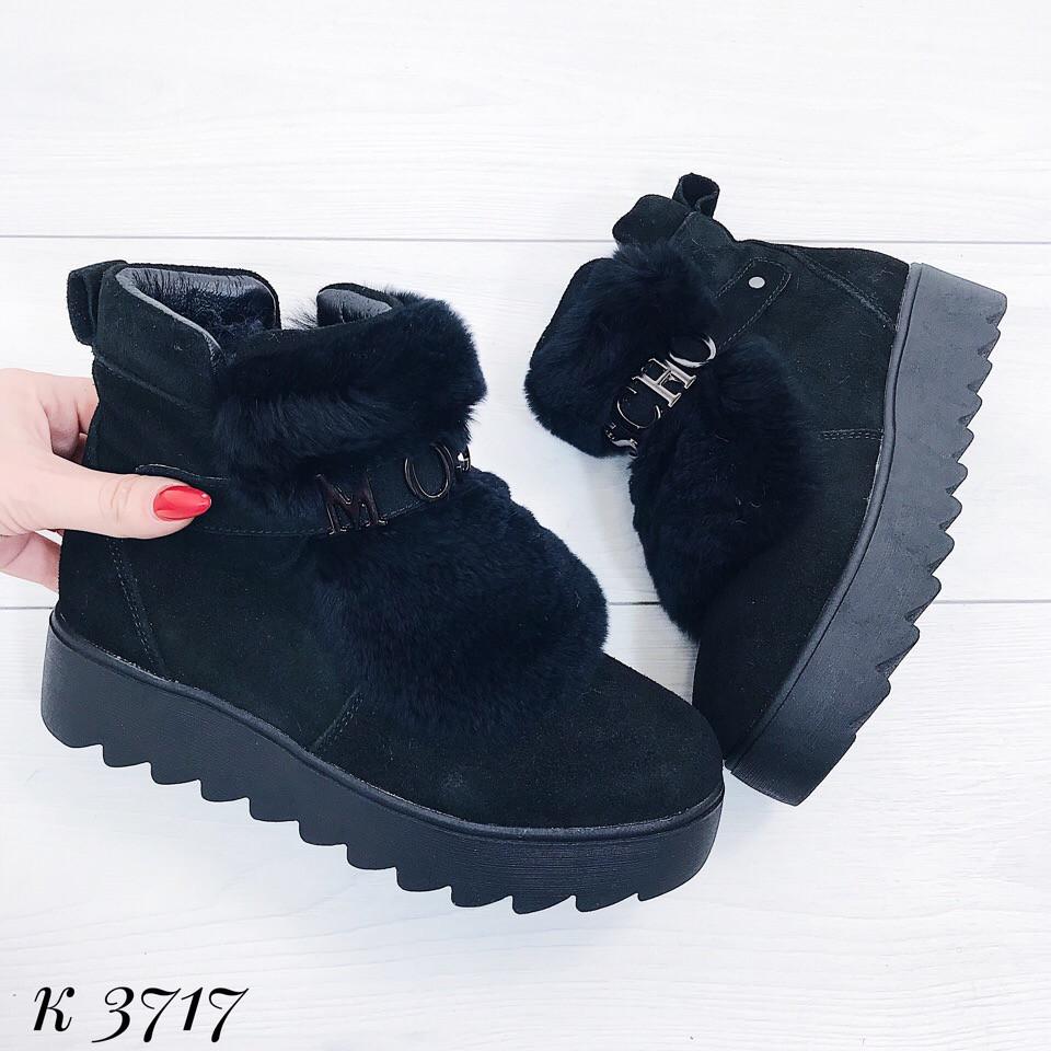 67957d5cf Женские зимние ботинки на платформе из натуральной замши в стиле Moschino