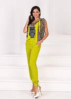Стильный оливковый женский штапельный комбинезон Сова в комплекте с шифоновой блузой. Арт-1158/19
