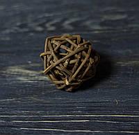 Шар из лозы 5 см натуральный коричневый
