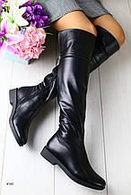 Женские сапоги  натуральная кожа,на низком каблуке,черные,утеплитель мутон-евро