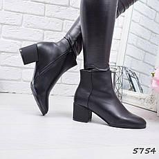 """Ботильоны женские на каблуке, черные """"Vivat"""" эко кожа, повседневная, демисезонная женская обувь, фото 2"""
