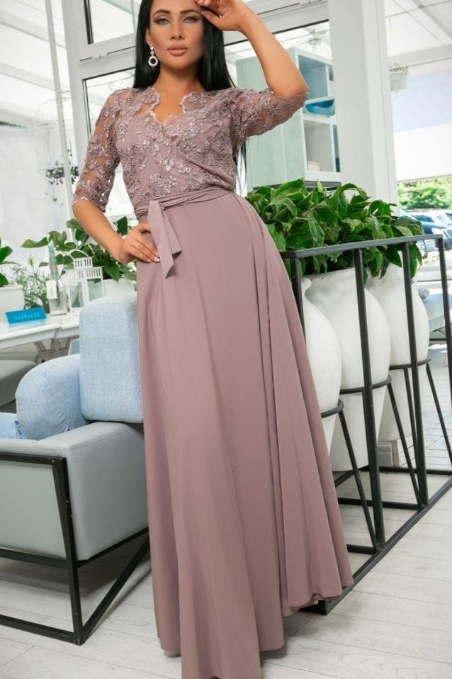 Эллегантное женское платье Настя. Завышенная талия, кружевной верх. Цвет Бисквит (7 цветов) Р-ры 44-52. (141)№608-1.