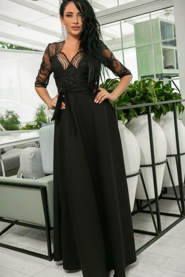 Эллегантное женское платье Настя. Завышенная талия, кружевной верх. Цвет Чёрный. (7 цветов) Р-ры 44-52. (141)№608-6.