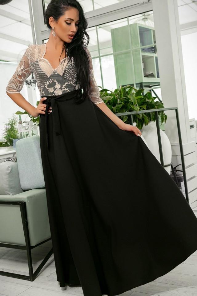 Эллегантное женское платье Настя. Завышенная талия, кружевной верх. Цвет Чёрно-Бежевый. (7 цветов) Р-ры 44-52. (141)№608-7.