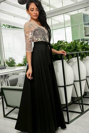 Эллегантное женское платье Настя. Завышенная талия, кружевной верх. Цвет Чёрно-Бежевый. (7 цветов) Р-ры 44-52. (141)№608-7. , фото 2