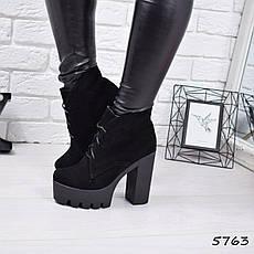 """Ботильоны женские на каблуке, черные """"Susan"""" НАТУРАЛЬНАЯ ЗАМША, повседневная обувь, ботинки женские, фото 3"""