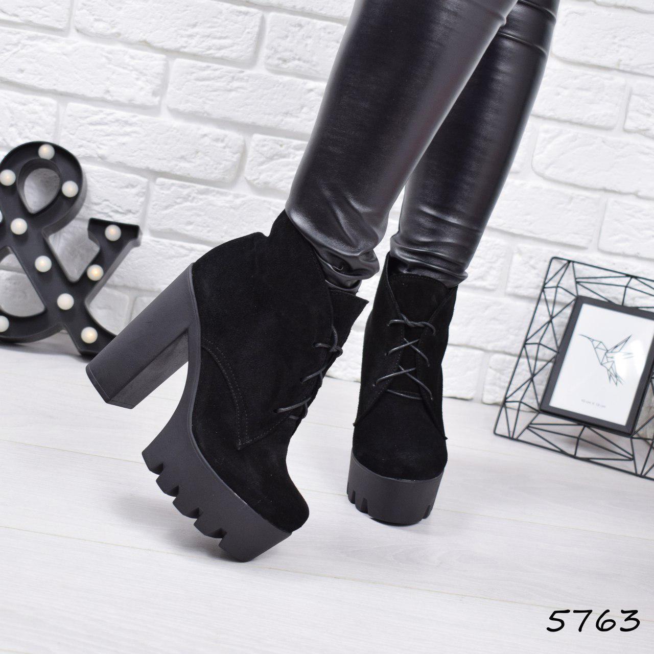"""Ботильоны женские на каблуке, черные """"Susan"""" НАТУРАЛЬНАЯ ЗАМША, повседневная обувь, ботинки женские"""