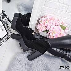 """Ботильоны женские на каблуке, черные """"Susan"""" НАТУРАЛЬНАЯ ЗАМША, повседневная обувь, ботинки женские, фото 2"""