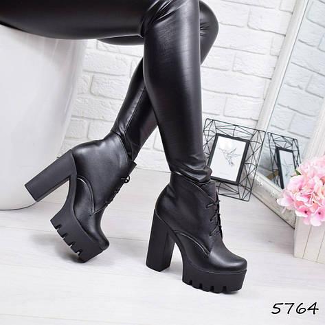 """Ботильоны женские на каблуке, черные """"Susan"""" НАТУРАЛЬНАЯ КОЖА, повседневная обувь, ботинки женские, фото 2"""