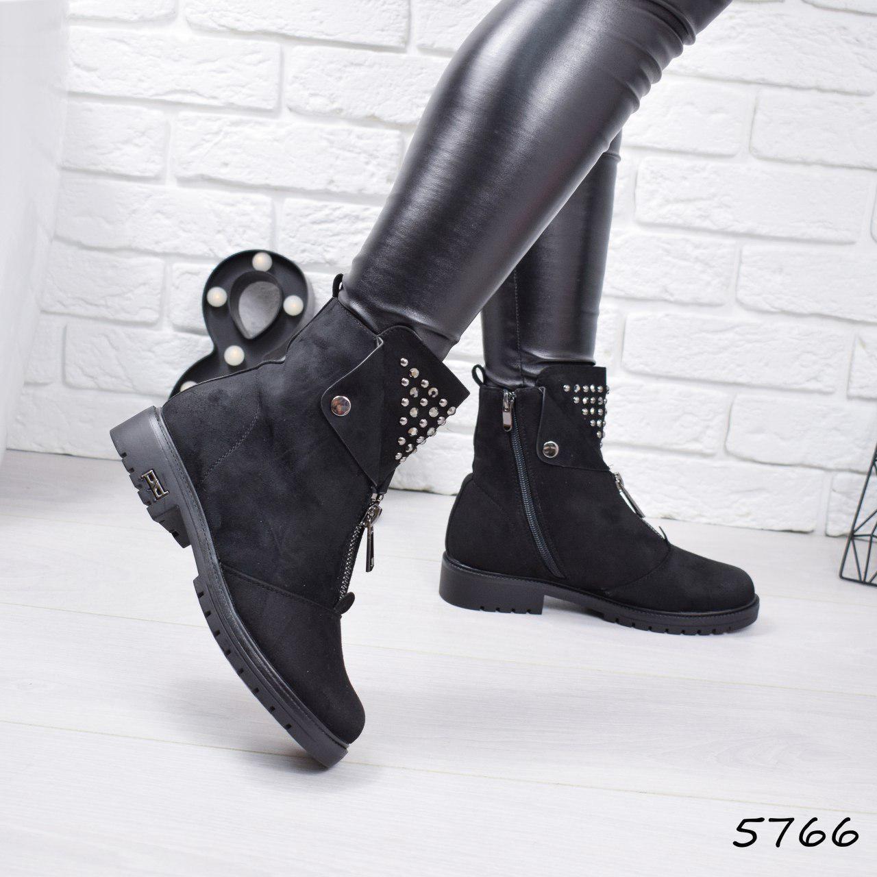 """Ботинки, ботильоны черные ЗИМА """"Arina"""" эко замша, повседневная, зимняя, теплая, женская обувь"""