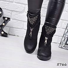"""Ботинки, ботильоны черные ЗИМА """"Arina"""" эко замша, повседневная, зимняя, теплая, женская обувь, фото 2"""