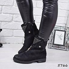 """Ботинки, ботильоны черные ЗИМА """"Arina"""" эко замша, повседневная, зимняя, теплая, женская обувь, фото 3"""