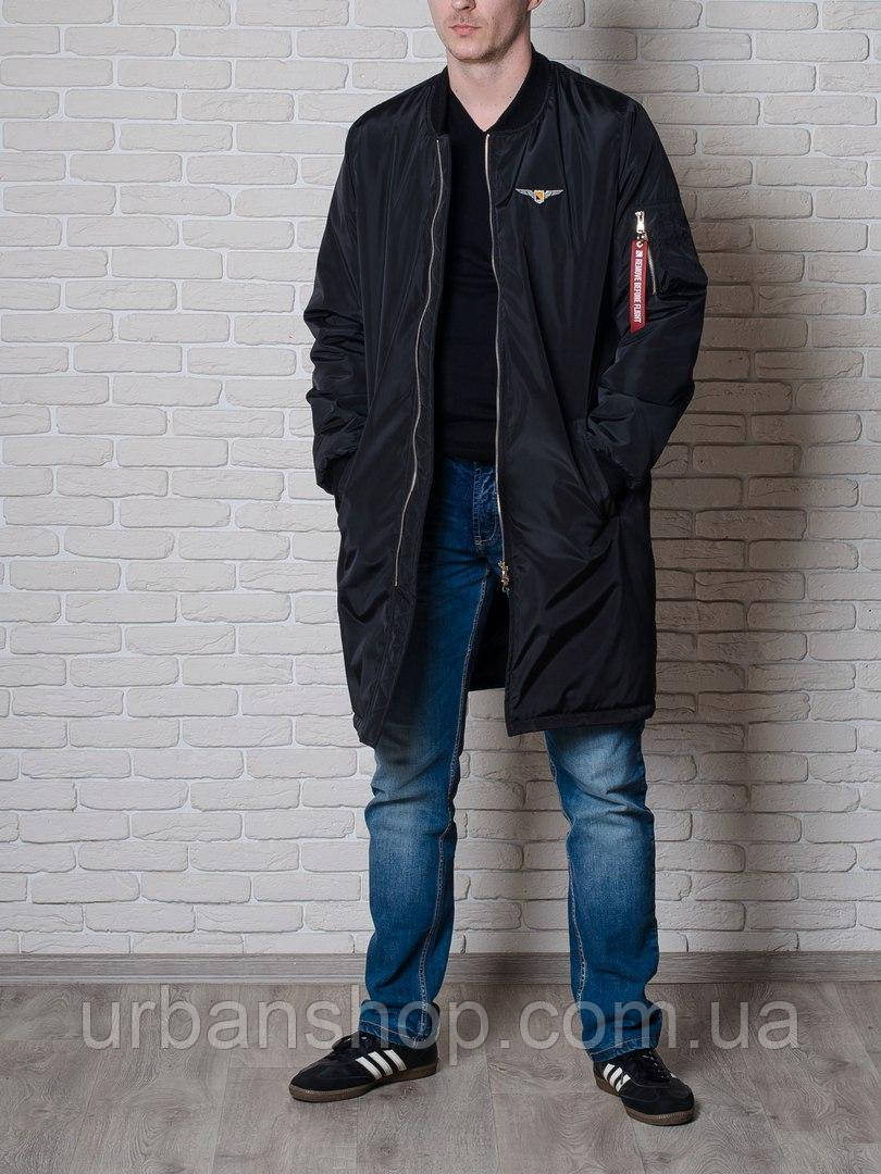 Чоловічий довгий бомбер від бренду Olymp - Color: Black.