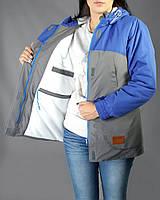 ТОП ПРОДАЖІВ !!! Тепла зимова жіноча парка Olymp - Blue and Grey., фото 1