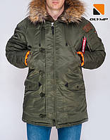 Чоловіча парка 2018 Olymp — Аляска N-3B Old Skool, Slim Fit, Color: Khaki. 100% НЕЙЛОН, фото 1