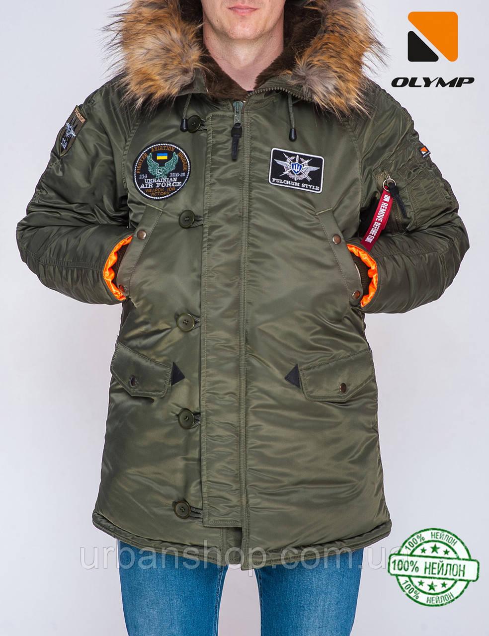 Парка Olymp з нашивками — Аляска N-3B, Slim Fit, Color: Khaki 100% Нейлон.