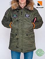Парка Olymp з нашивками — Аляска N-3B, Slim Fit, Color: Khaki 100% Нейлон., фото 1