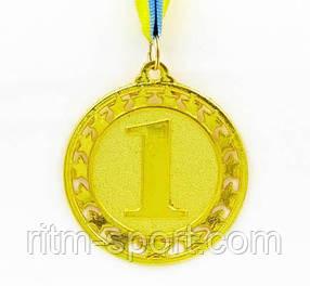 Медаль спортивная наградная с лентой d 6,5 см (звезды в окантовке)