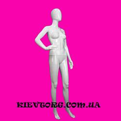 Манекен женский белый глянцевый безликий
