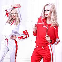 Женский спортивный костюм-двойка с широкими лампасами и карманами на брюках Батал