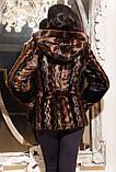 Модная молодежная шубка из эко-меха под норку (коричневая волна), фото 2