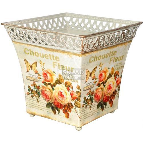555-047-1 Кашпо металлическое квадратное с перфорацией Чайная роза
