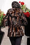 Модная молодежная шубка из эко-меха под норку, коричневая паркет, фото 2