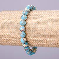 Браслет из натурального камня Варисцит (пресс) голубой шарик d-8мм обхват 18см на резинке