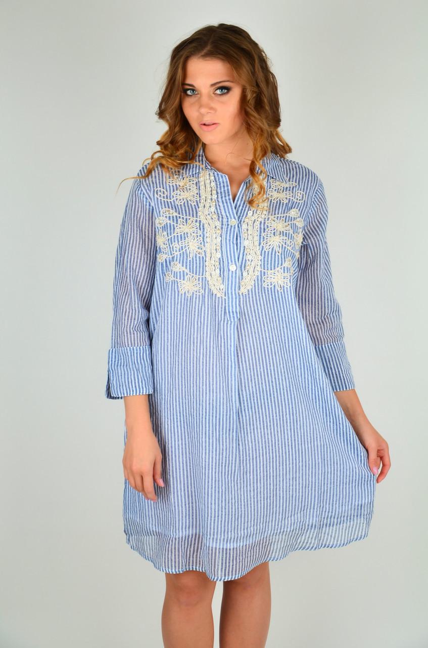 b38c95e4e04c Полосатое пляжное платье с вышивкой Iconique IC9-055 44(M) Голубой Iconique  IC9-055