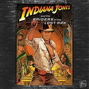 Постер Indiana Jones and the Raiders of the Lost Ark, Индиана Джонс. Размер 60x40см (A2). Глянцевая бумага