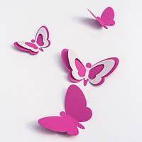 Интерьерная 3d наклейка набор 3Д-бабочек Зефир матовая интерьерные наклейки для стен Комплект 20 шт.