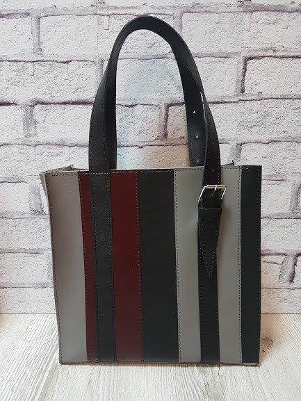 Сумка женская шоппер кожаная серый/черный/марсала 1632