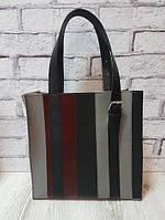Сумка женская шоппер кожаная серый/черный/марсала 1632, фото 1