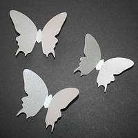 Интерьерные 3Д-наклейки Махаон Серебро (3d бабочки из картона)
