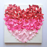 Декоративные бабочки Панно Сердце (ПВХ наклейки стикеры декор 3d наклейки на холсте) матовая 300х300 мм, фото 1