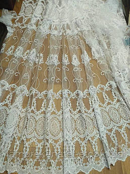 Тюль в зал спальню, белый с кордовой вышивкой на фатине Турция