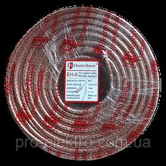 EH-6 Телевизионный (коаксиальный) кабель RG-6U 64% ССS 1,02 Медная фольга 64 медных жил Силикон/прозрачный