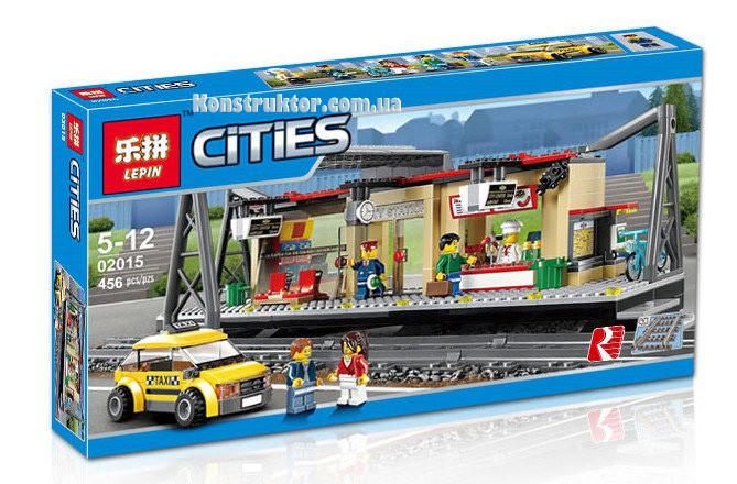 """Конструктор Lepin 02015 """"Железнодорожная станция"""" Сити, 456 деталей. Аналог LEGO City 60050"""