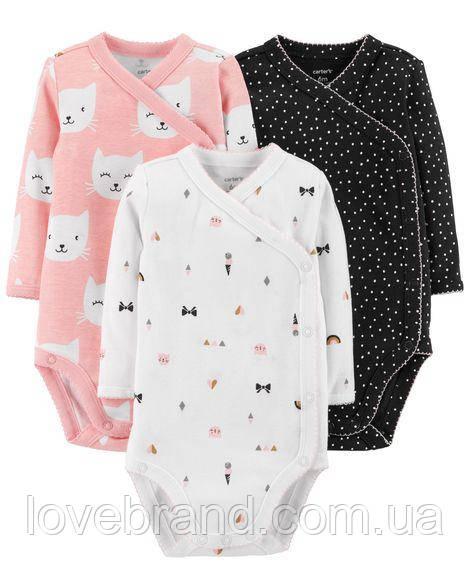 Набор боди для новорожденной девочки 3 шт Carter's с заклепками на сторону 3 мес/55-61 см