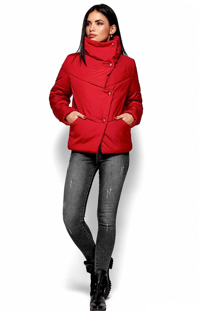 Женская зимняя короткая куртка, красная, р.42-48