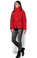 Женская зимняя короткая куртка, красная, р.42-48, фото 2