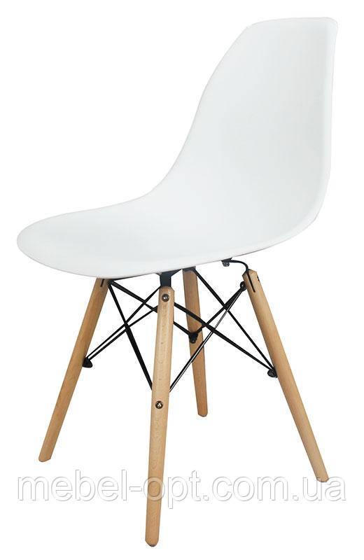 Стул дизайнерский Nik Eames DSW белый на деревянных буковых ножках, код 8385