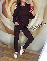 Красивый стильный женский костюм с жемчугом штаны и кофта свитер бордовый 42 44 46