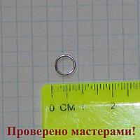 Колечко бижутерное, 7 мм, темно серебристое (стальное),1 шт.