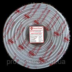 EH-13 Телевизионный (коаксиальный) кабель RG-6U 100% CCS 1,02 медная герметичная фольга 128 медн жил ПВХ/белый