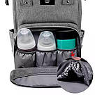Сумка-рюкзак для мам в стиле LeQueen серая, фото 2