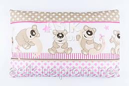 """Дитяча подушка 60*40 для новонароджених """"Ведмедики з ромбиком"""", колір рожевий."""